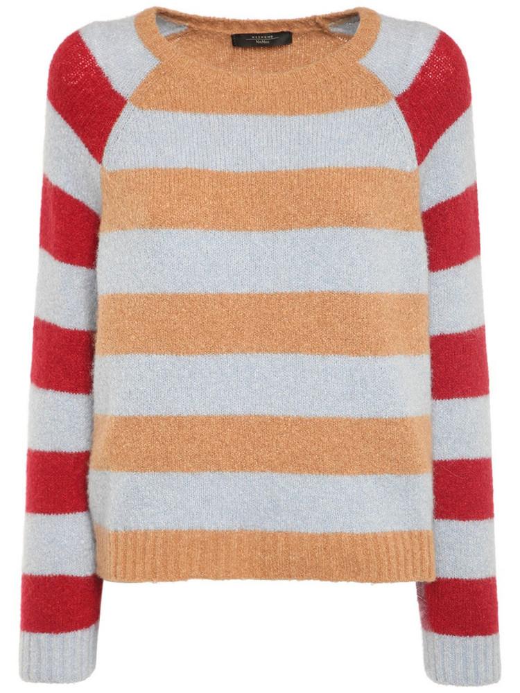 WEEKEND MAX MARA Striped Alpaca Blend Crewneck Sweater in blue / red / beige