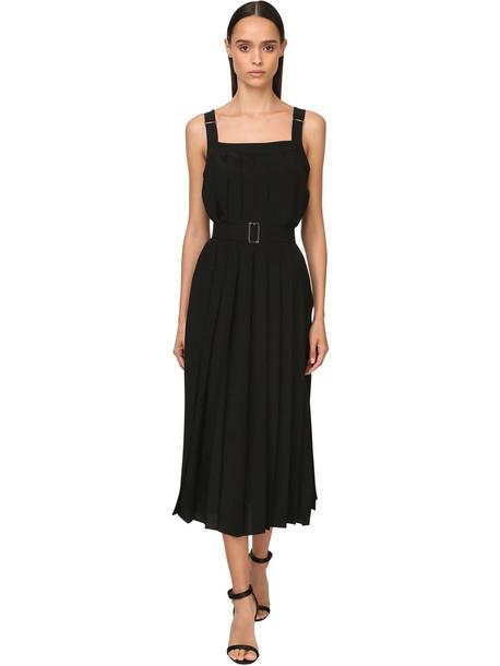 MAX MARA Pleated Crepe De Chine Midi Dress & Belt in black