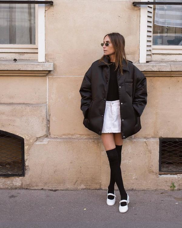 shoes white shoes chanel knee high socks white skirt denim skirt black top prada oversized jacket