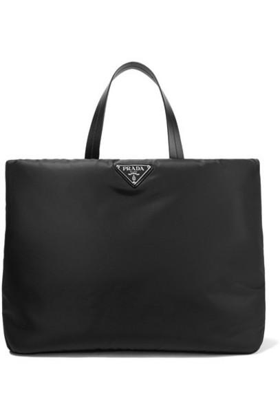 Prada - Leather-trimmed Nylon Tote - Black