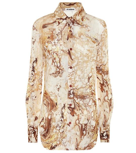 Jil Sander Printed silk shirt in beige