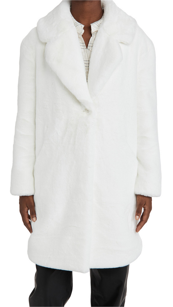Adrienne Landau Faux Fur Coat in white