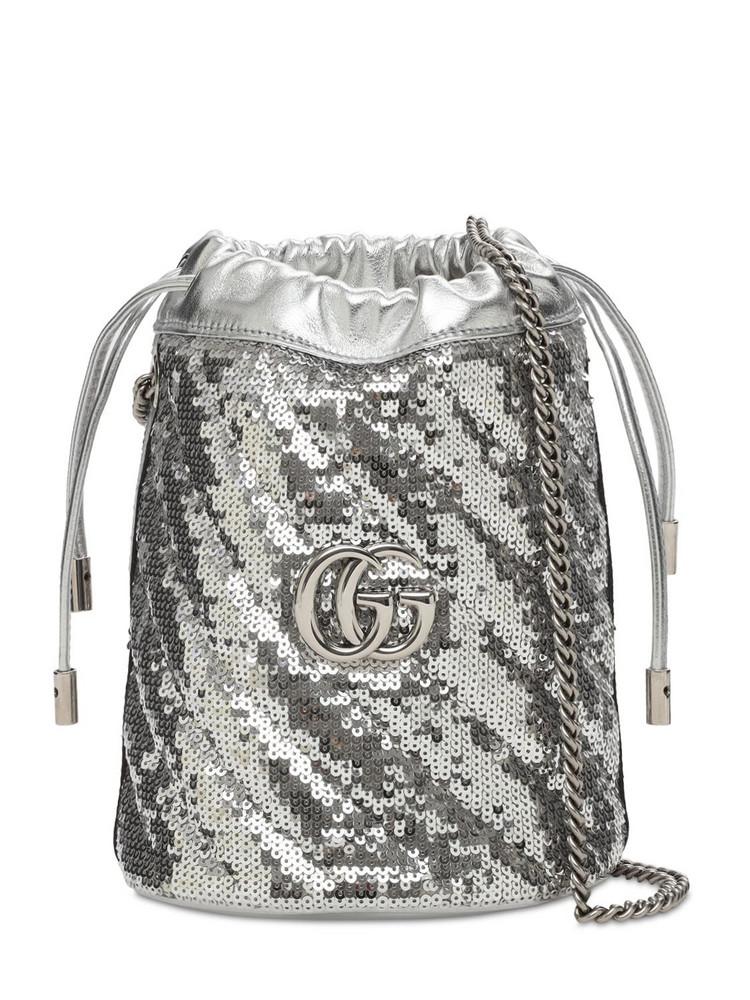 GUCCI Mini Gg Marmont 2.0 Sequins Bucket Bag