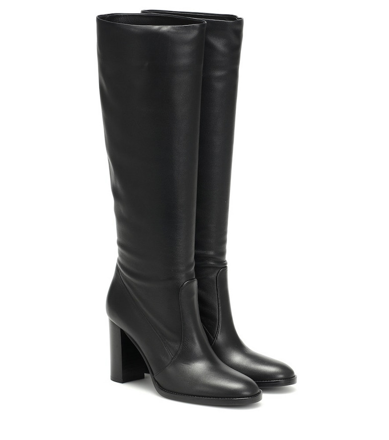 Gianvito Rossi Leather knee-high boots in black