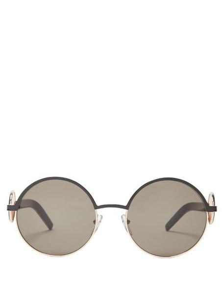 Marni - Circle Inlay Round Metal Sunglasses - Womens - Black