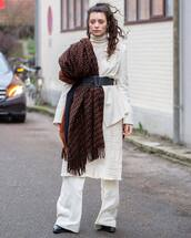 pants,white pants,wide-leg pants,black boots,midi skirt,white blazer,scarf,white skirt,white turtleneck top,black belt