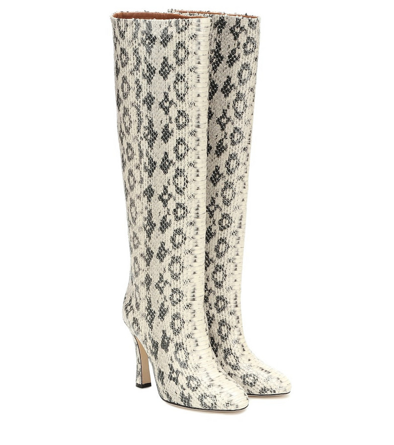 Paris Texas Snake-effect leather ankle boots in beige