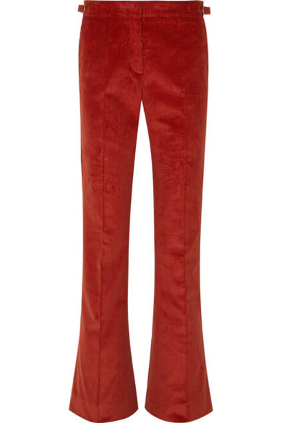 Gabriela Hearst - Thompson Cotton-corduroy Flared Pants in red