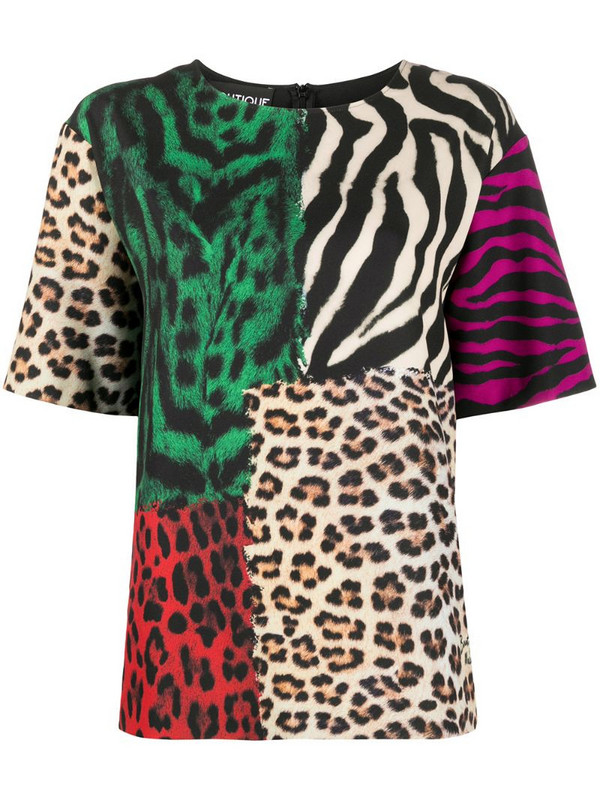 Boutique Moschino colour-block animal print T-shirt in brown
