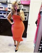 dress,chastity garner,strapless dress,coral dress,midi dress