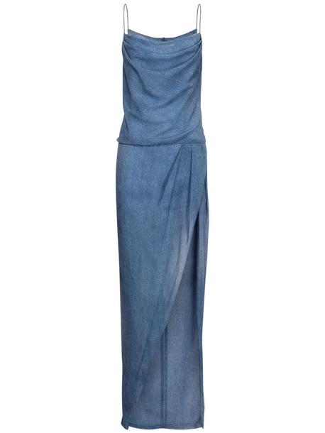 BALMAIN Denim Effect Silk Dress W/ Deep Slit in blue