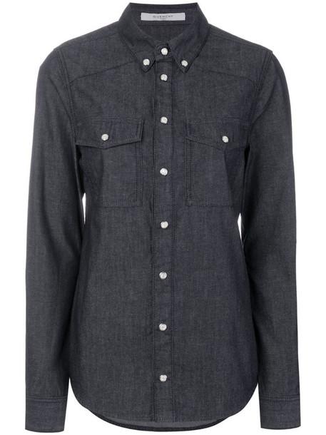 Givenchy logo print denim shirt in blue