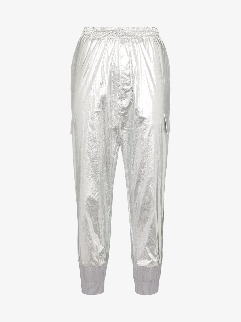 Juun.J contrast-cuff track pants in metallic