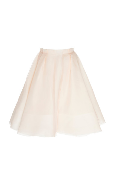 Brock Collection High-Rise Silk Circle Skirt Size: 0 in pink