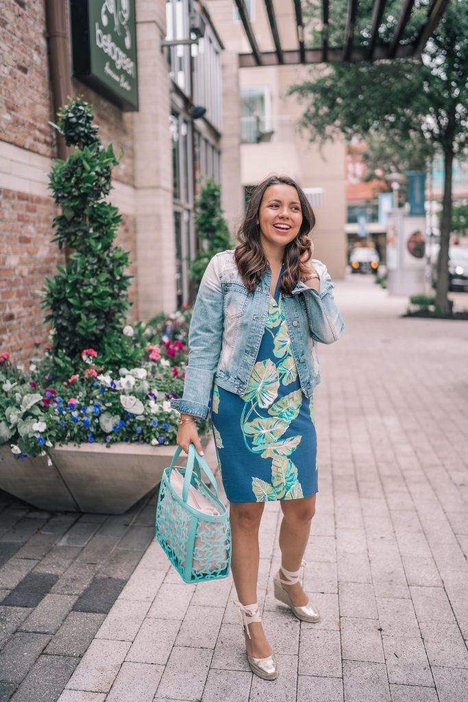 adoredbyalex blogger jacket dress shoes bag jewels blue dress denim jacket wedges handbag