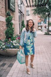 adoredbyalex,blogger,jacket,dress,shoes,bag,jewels,blue dress,denim jacket,wedges,handbag
