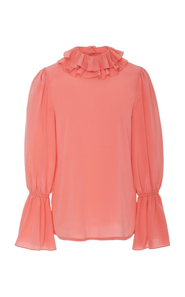 Tory Burch Ruffled Silk Blouse Size: 4 in pink