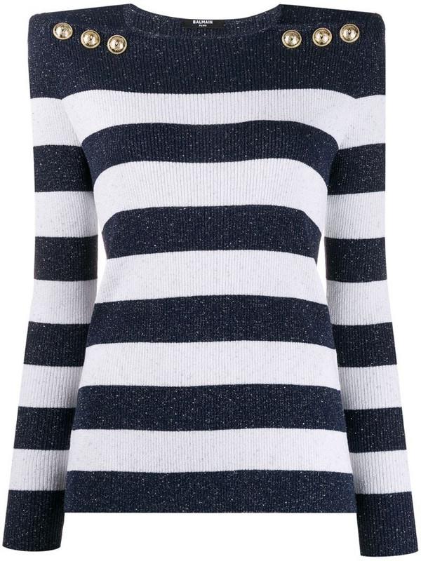 Balmain structured striped jumper in blue