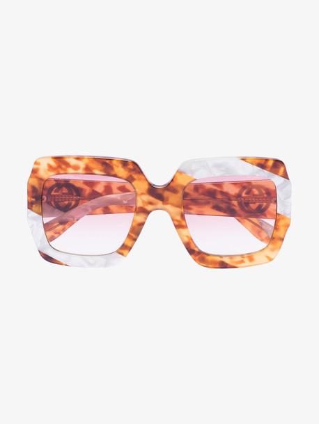 Gucci Eyewear Brown Pearl Swirl oversized sunglasses