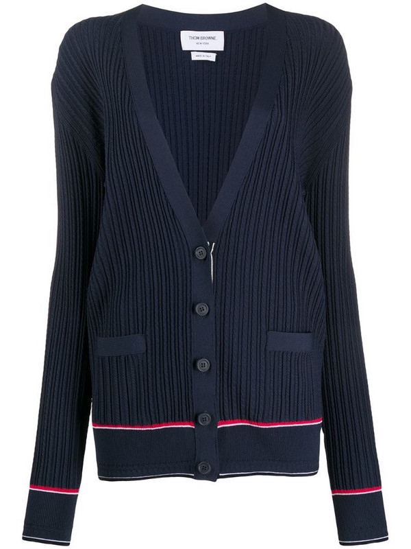 Thom Browne Baby Cable Low V Neck Cardigan In Viscose Elite in blue