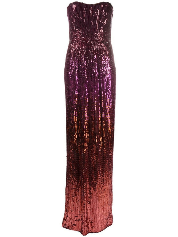 Jenny Packham Romie strapless ombré sequin gown in pink
