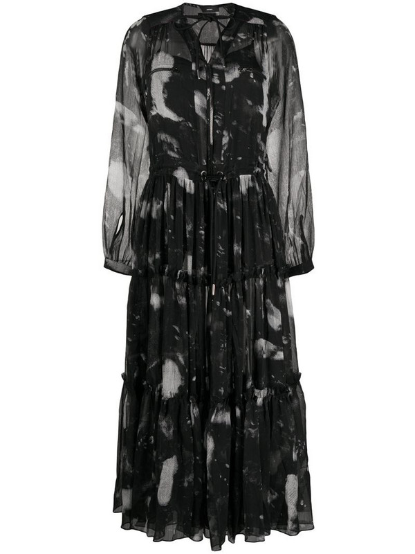 Diesel tiered drawstring-waist dress in black