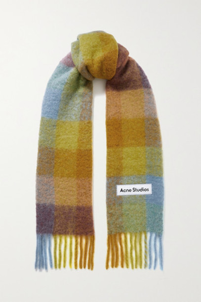 Acne Studios - Fringed Checked Knitted Scarf - Yellow