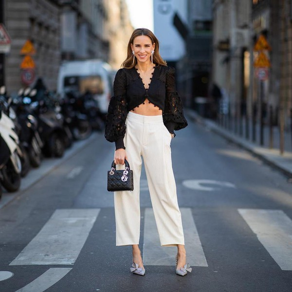 top black top cropped embellished zimmermann high waisted pants white pants pumps black bag handbag