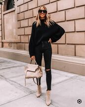 jeans,skinny jeans,ankle boots,bag,black sweater