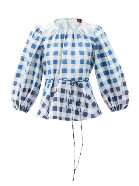 Staud - Laurence Gingham Recycled-nylon Blouse - Womens - Blue White