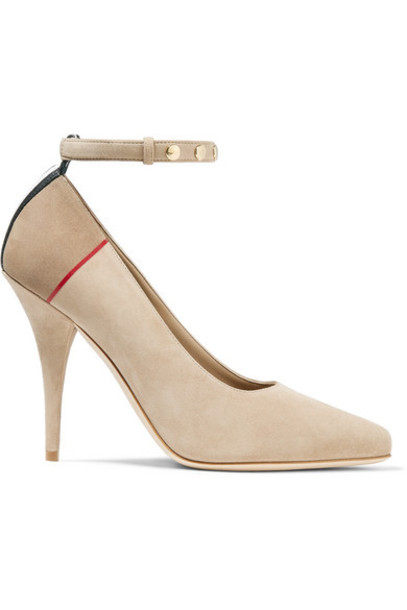 Burberry - Striped Studded Suede Pumps - Taupe