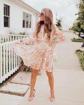 dress,floral dress,mini dress,long sleeve dress,sandal heels,white bag
