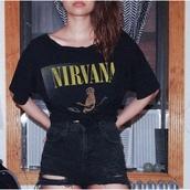 top,t-shirt,nirvana,band t-shirt,music