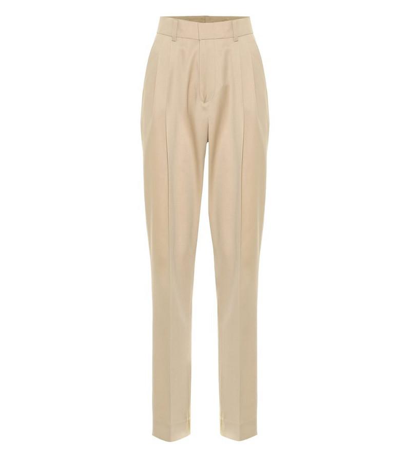 Ryan Roche High-rise slim wool pants in beige