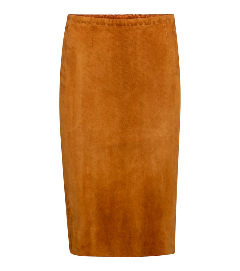 Stouls Gilda high-rise suede midi skirt in brown