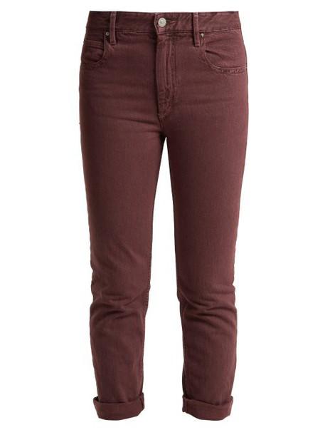 Isabel Marant Étoile - Fliff Mid Rise Slim Fit Cropped Jeans - Womens - Burgundy