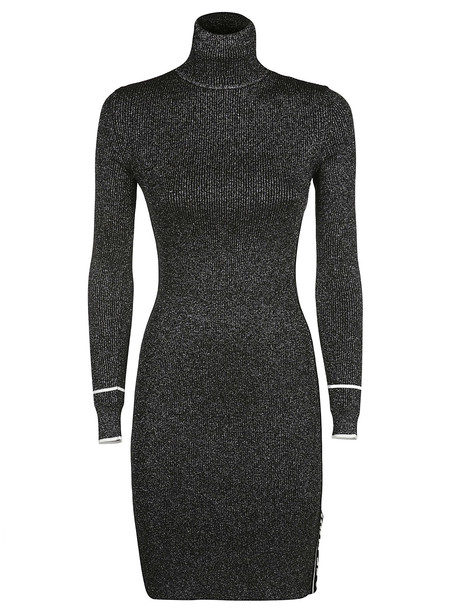 Off-White Metallised Knitted Dress in silver
