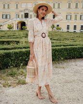 dress,maxi dress,belted dress,sandal heels,bucket bag,hat