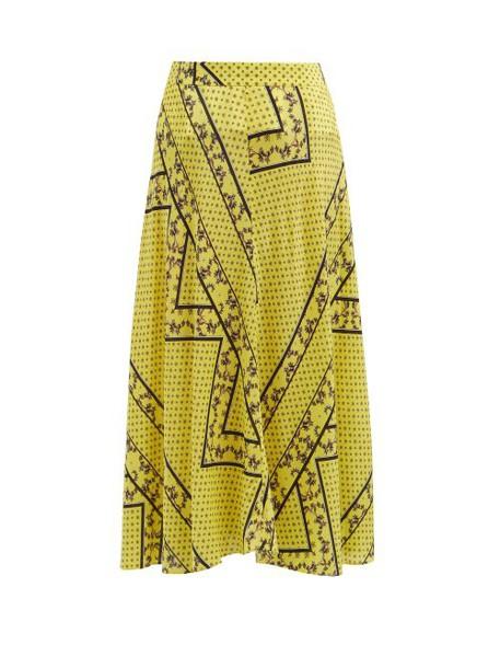 Ganni - Hemlock Bandana Print Silk Blend Skirt - Womens - Yellow Multi