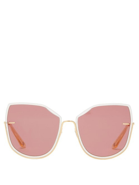 Moy Atelier - Nobody's Darling Oversized Gold Plated Sunglasses - Womens - Pink