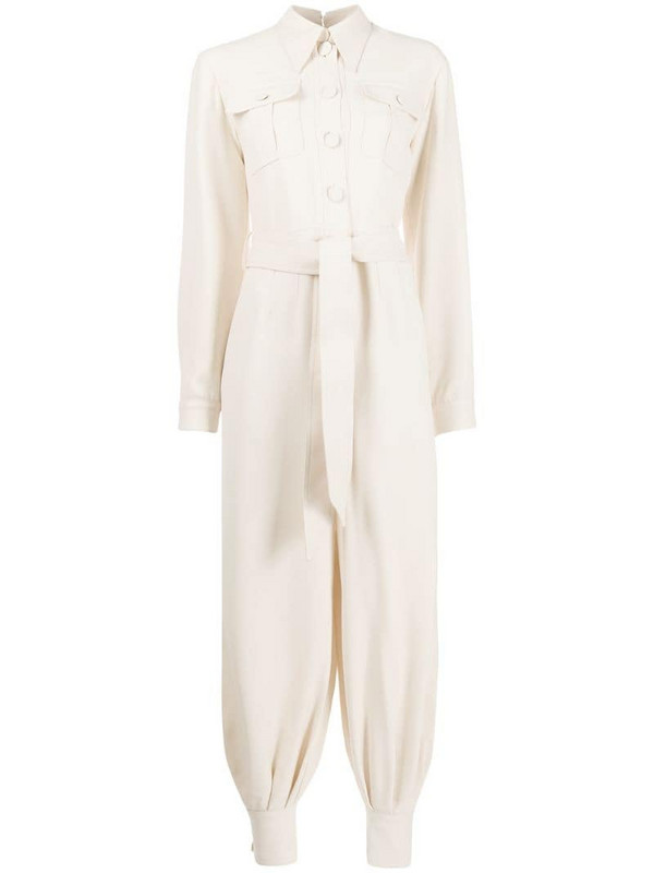 Gucci pleated belted jumpsuit in neutrals