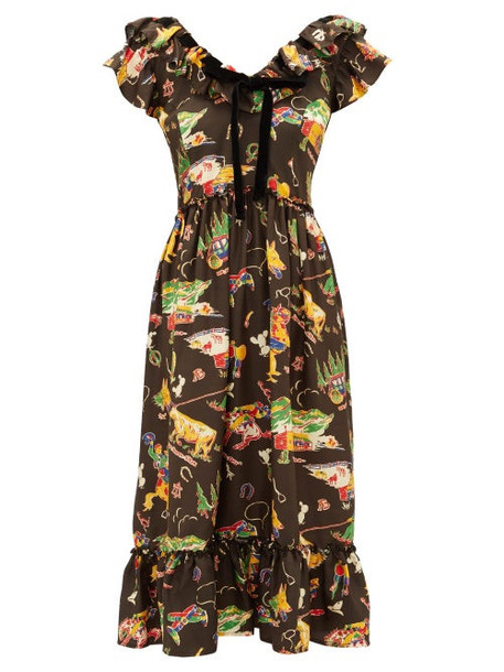Shrimps - Rio Rodeo Print Silk Satin Dress - Womens - Black Multi