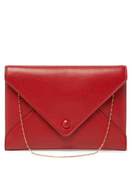 The Row - Envelope Chain Handle Leather Clutch - Womens - Red