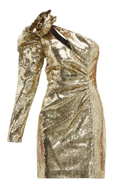 Dundas - One Shoulder Sequinned Dress - Womens - Gold