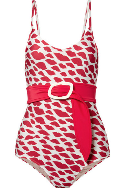 Adriana Degreas - Bacio Belted Printed Swimsuit - Red