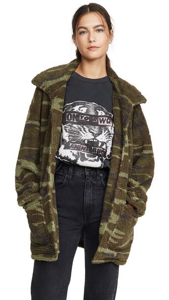 Z Supply Camo Sherpa Jacket in green