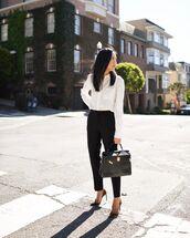pants,black pants,high waisted pants,black bag,pumps,white shirt