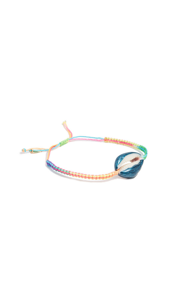 Maison Irem Pino Colored Shell Macrame Bracelet in blue