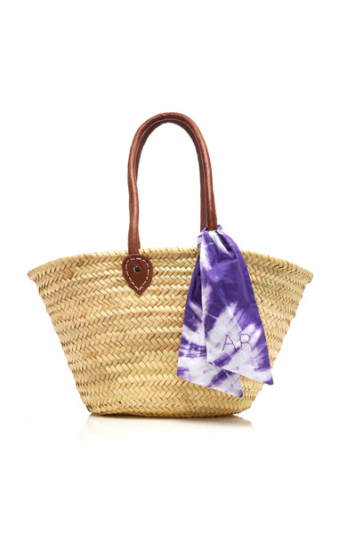 BomBom Morocco M'Onogrammable Oh So Simple Woven Palm Leaf Basket Bag in neutral