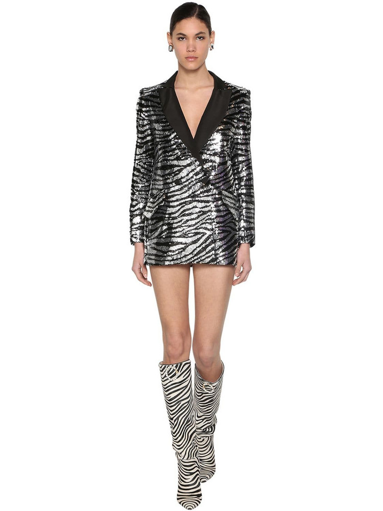 GIUSEPPE DI MORABITO Zebra Sequined Jacket Dress in black / silver